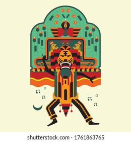 illustration of Indonesian traditional culture. Reog Ponorogo design with colorful style.