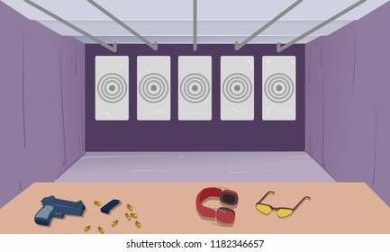Illustration of an Indoor Target Shooting Range with a Gun, Bullets, Headphone and Glasses