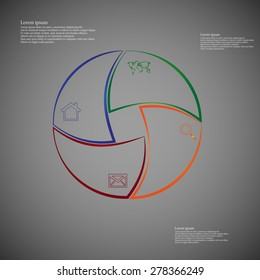 Illustration infographic consists of four separate parts from outlines together with shape of circle. Each part has own simple sign and different color. There is a space for own text.