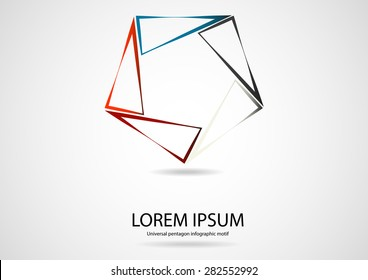 Illustration infographic logo with pentagon shape with sharp corners consists of five separate color triangle parts crated by outline contours with space around for own text. Background is light