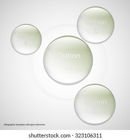 Illustration infographic template with four glass rings. Each item contains space for own text. Smaller rings are placed around central one. Rings are light green on light background.