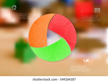 Illustration infographic template with motif of color circle divided to three sections with ornaments. Blurred photo with financial motif with money, coins or cards is used as background.