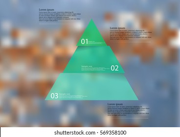 Illustration infographic template with motif of green triangle horizontally divided to three sections. Blurred photo with motif of worn wooden color wall is used as background.