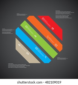 Illustration infographic template with shape of octagon. Object askew divided to five parts with various colors. Each part contains Lorem Ipsum text, number and sign. Background is dark.