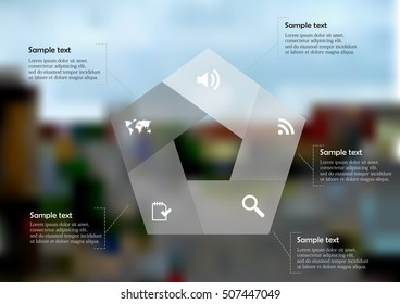 Illustration infographic template with shape of pentagon consists of five parts on background created from photo of street with crossroad in town. Graphic contains sample text and signs.