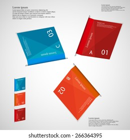 Illustration infographic which contains three folded paper sheets. Each sheet has different color, number, unique letter and space for text. Sheets are once rotated around middle of picture