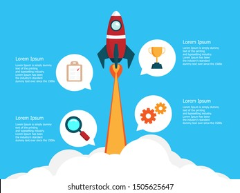 illustration of infographics 4 steps business  startup with rocket launch vector flat design background