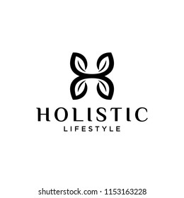 illustration  initial logo H which is shaped like four leaves are interconnected.