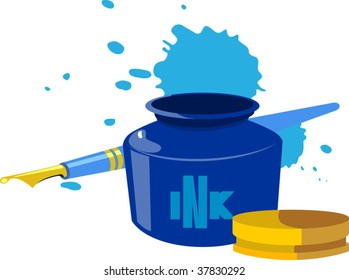 Illustration of ink pot and pen