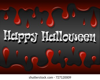 """Illustration of the inscription """"Happy Halloween"""" in red with streaks of blood."""