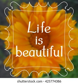 Illustration with the inscription Life is beautiful. With patterned frame. Gradient flower background. Vector illustration