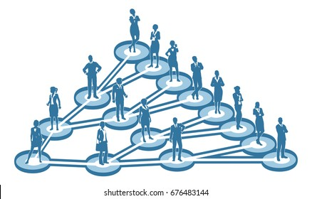 An illustration of interconnected linked business people. A  viral marketing or social networking concept