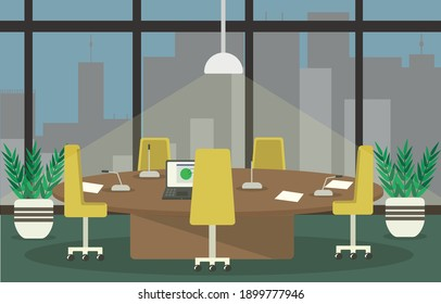 illustration of the interior of the conference room or office in front of a window overlooking a city with a large round table with microphones, laptop and office chairs the background of night city