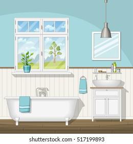 Illustration of interior equipment of a bathroom