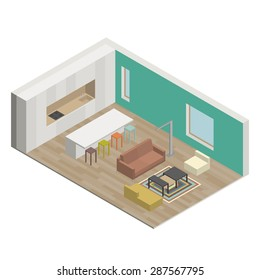 Illustration of the interior of living room. Isometric view