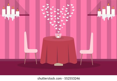 illustration of the interior of the restaurant or the room for dinner in honor of Valentine's Day with hearts, candles, table seating for two in the pink on wallpaper background with stripes
