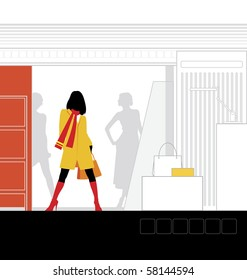 Illustration of the interior of the store. In the foreground is a woman. Beside him is a podium for clothes.