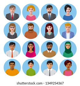 illustration of international avatars icons for social media