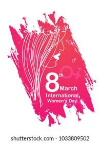 Illustration Of International Women's Day Card, banner or poster Background.