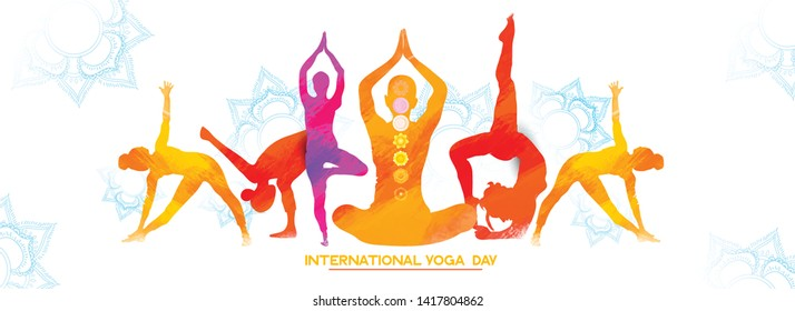 illustration of International Yoga Day brochure and poster design. June 21st celebrates world yoga day
