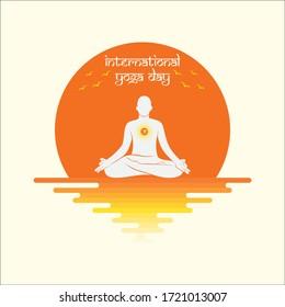 Illustration of international yoga day, men in yoga pose sitting on lotus