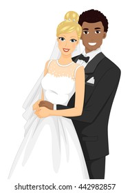 Illustration of an Interracial Couple Having Their Portrait Taken