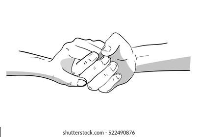 Illustration of intertwined or of interlocking hands.