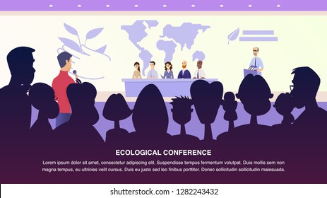 Illustration Interview Journalist Professor Group. Banner Vector Male Journalist Asks Environmental Specialist. Group People Answers Questions from Ecological Conference. Problem Ecology Earth