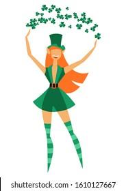 Illustration of Irish fantastic character leprechaun girl. Saint Patricks Day celebration. Stylish woman in traditional costume.
