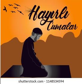 """illustration of an islamic theme for the holy friday. Quote in turkish ''Hayirli Cumalar"""" - english translation 'Jumma Mubarak'"""