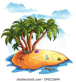 illustration island with palm trees and treasures