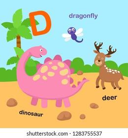 Illustration Isolated Alphabet Letter D-deer,dinosaur,dragonfly.vector