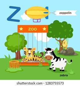 Illustration Isolated Alphabet Letter Z-zoo,zeppelin,zebra.vector