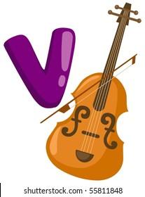 illustration of isolated  alphabet V for violin on white background