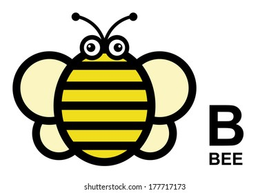 illustration of isolated animal alphabet. B is for bee. Vector illustration.