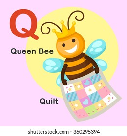 Illustration Isolated Animal Alphabet Letter Q-Quilt,Queen bee.vector