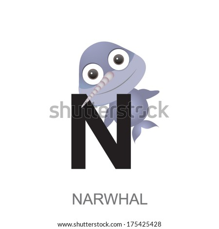 Image of: Animal Alphabet Illustration Of Isolated Animal Alphabet Is For Narwhal Vector Illustration Shutterstock Illustration Isolated Animal Alphabet Narwhal Stock Vector