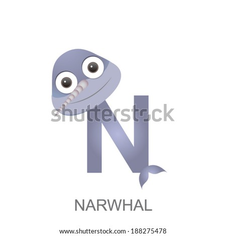 Image of: Nightingale Illustration Of Isolated Animal Alphabet Is For Narwhal Vector Illustration Shutterstock Illustration Isolated Animal Alphabet Narwhal Stock Vector