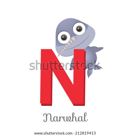 Image of: Cute Animal Illustration Of Isolated Animal Alphabet Is For Narwhal Vector Illustration Shutterstock Illustration Isolated Animal Alphabet Narwhal Stock Vector