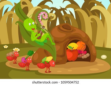 illustration of isolated the ant and the grasshopper  fairy tale vector