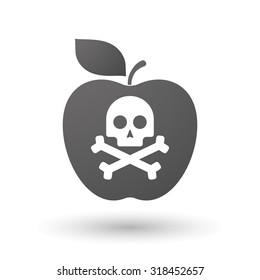 Illustration of an isolated apple with a skull