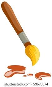 illustration of isolated  art paintbrush on white background