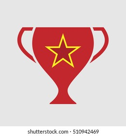Illustration of an isolated award cup vector icon with  the red star of communism icon