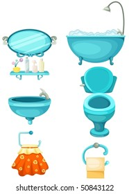 illustration of isolated bathroom icons set on white background