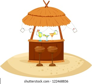 illustration of isolated beach cocktail bar on white