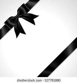 Illustration of isolated black ribbon. black ribbon bow vector.