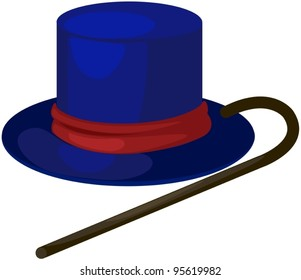 illustration of isolated blue hat with cane on white