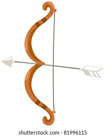 illustration of isolated bow and arrow on white