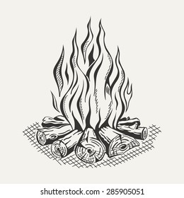 Illustration of isolated camp fire on white background. Monochrome.