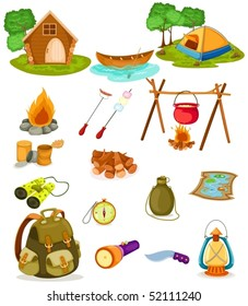 illustration of isolated camping collection  on white background